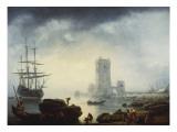 A Mediterranean Harbour Scene: Morning, 1745 Giclee Print by Claude-Joseph Vernet