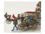 Early Car, with a Man with a Flag Giclee Print by Peter Jackson