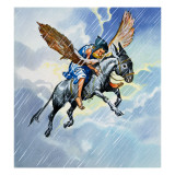 Riding a Donkey Asleep in the Rain Giclee Print by English School 