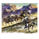 Red Indians Attacking a Stage Coach Giclee Print by Ron Embleton