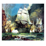 Hms Victory at the Battle of Trafalgar Reproduction procédé giclée par McConnell