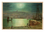 Whitby Harbour by Moonlight, 1870 Premium Giclee Print by  Grimshaw