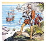 Francis Drake and the Golden Hind Giclee Print by Ron Embleton