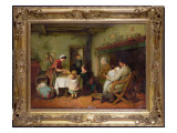 Christmas Visitors Stirring the Pudding Giclee Print by Frederick Daniel Hardy