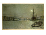 The Pool and London Bridge at Night Giclee Print by  Grimshaw