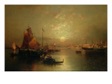 Shipping on the Lagoon, Venice, at Sunset Giclee Print by Franz Richard Unterberger