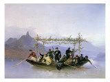 The Artist with His Students on the Rhine Giclee Print by Casper Johann Nepomuk Scheuren