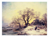 Figures Outside a Cottage in Winter Giclee Print by Gustaf Fredrik Rydberg
