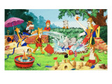 Nursery Animals Playing in the Garden Giclee Print by  English School