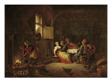 Peasants Merrymaking at Table in a Cottage Kitchen Lámina giclée por Hendrik Martensz Sorgh