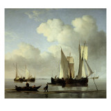 A Wijdship, a Keep and Other Shipping in Calm Giclée-Druck von Willem Van De, The Younger Velde