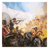 American Pioneers Shooting Red Indians Giclee Print by  McConnell