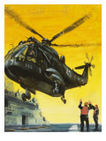 Helicopter Landing on Aircraft Carrier Giclee Print by  English School