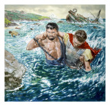 The Story of Paul Retold, the Great Shipwreck Giclee Print by Clive Uptton