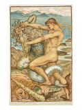 Hercules and the Old Man of the Sea Giclee Print by Walter Crane