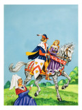 Prince and Princess on a Horse Giclee Print by  English School