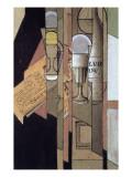 Verres, Journal Et Bouteille De Vin, Collage Giclee Print by  Gris