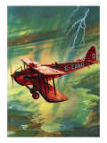 Airliner Struck by Lightning Giclee Print by  English School