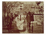 A Geisha Being Carried in a Litter Giclee Print by  Japanese Photographer