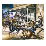 Bank Robbery Taking Place in the Wild West Giclee Print by Ron Embleton
