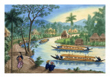 View Near the Town of Tagnig on the Pasig River Giclee Print by Jose Honorato Lozano