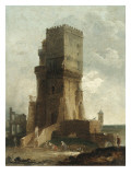 A Capriccio of the Tower of Benevento Giclee Print by Hubert Robert