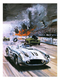 Mercedes Crash in the 1955 Le Mans Race Giclee Print by Graham Coton