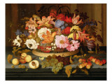 Still Life of Fruit and a Basket of Flowers, 1623 Giclee Print by  Ast