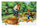 Brer Rabbit Spotting Bear and Fox Stealing Carrots Giclee Print by Virginio Livraghi