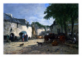 Cattle Market at Daoulas, Brittany, 1861 Giclee Print by Eugène Boudin