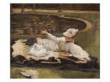 Mrs. Newton with a Child by a Pool Reproduction procédé giclée par James Tissot