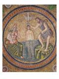Baptism of Christ by John the Baptist Giclée-tryk af Byzantine School