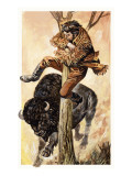 The Overland Stage: Outlaws and Indians Giclee Print by Peter Jackson