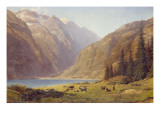 A Mountainous Landscape with Cattle Giclee Print by Alfred Chavannes