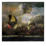 A Battle Between English and Dutch Fleets Giclee Print by Isaac Sailmaker