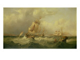 Sailing Ships Off the Coast at Tynemouth Giclee Print by Henry Redmore
