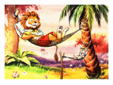 Leo the Friendly Lion Relaxing in a Hammock Impressão giclée por Virginio Livraghi
