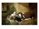A Lop-Eared Doe Rabbit with Her Young Impression giclée par John Frederick Herring I