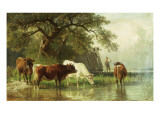 Cattle Watering in a River Landscape, 19th Century Giclee Print by Friedrich Voltz
