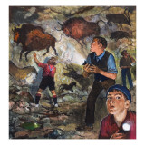 Boys Chance across Cave Paintings, 1981 Giclee Print by Clive Uptton