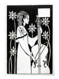 Lady with Cello, from 'Le Morte D'Arthur' Premium Giclee Print by Aubrey Beardsley