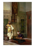 D Guard with a Zither Player in an Interior Premium Giclee Print by Ludwig Deutsch