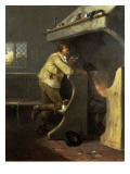 A Man Smoking a Pipe by an Inn Fire Giclee Print by Morland