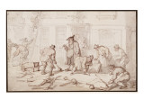 Labourers Putting Down a Pavement Giclee Print by  Rowlandson