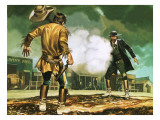 Wyatt Earp at Work in Dodge City Giclee Print by Ron Embleton