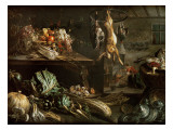 Kitchen Interior with Still Life, Maid by the Fire Giclée-Druck von Adriaen van Utrecht