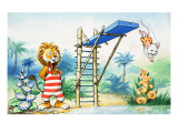 Leo the Friendly Lion at the Pool Reproduction procédé giclée par Virginio Livraghi