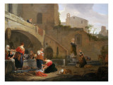 Washerwomen by a Roman Fountain Giclee Print by Thomas Wyck