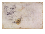 W.60 Sketch of a Male Head, in Two Positions Giclee Print by  Michelangelo Buonarroti