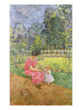Woman and Child in a Garden Reproduction proc&#233;d&#233; gicl&#233;e par Edouard Vuillard